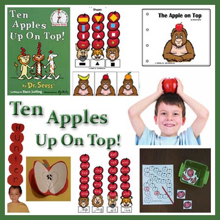 Dr. Seuss activities, crafts, games for 10 Apples Up On Top