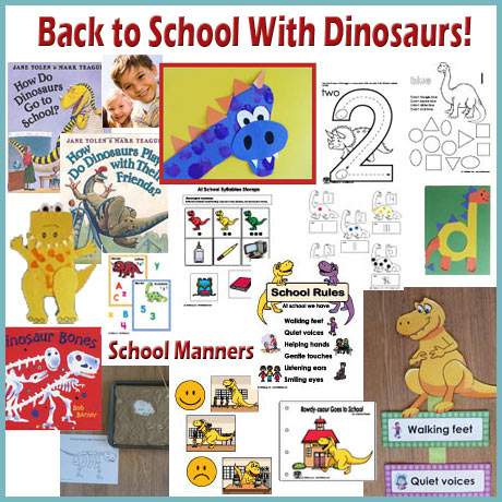 Back to school with dinosaurs activites, crafts, lessons, folder games