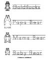Goldilocks and bears printables