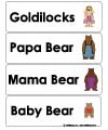 Goldilocks and three bears word wall