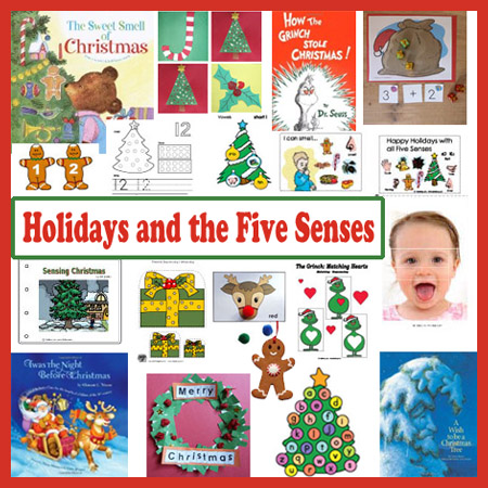 Christmas Holidays and the Five Senses craft and activities preschool
