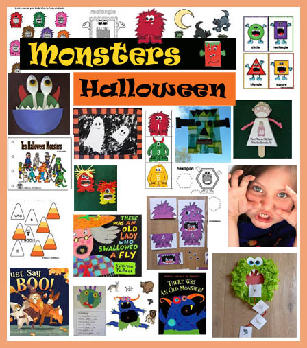 Monsters and Halloween crafts, activities, folder games, printables for preschool and kindergarten