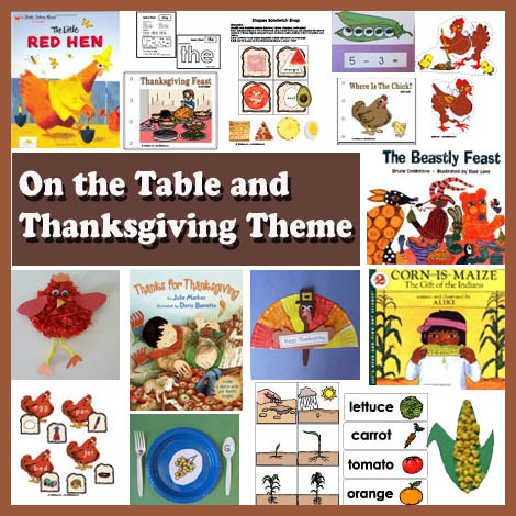 On the table and thanksgiving preschool and kindergarten theme and crafts