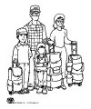 Family traveling coloring page