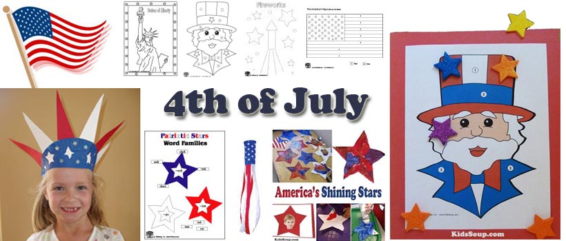 4th of July crafts, activities, and games for preschool and kindergarten