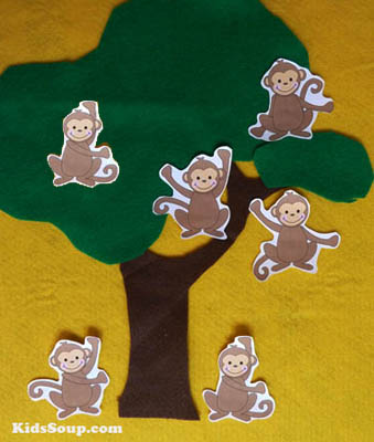 Six Little Monkeys Felt story and rhyme for preschool and kindergarten