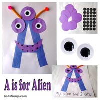 Preschool Kindergarten A for Alien Craft and Activity