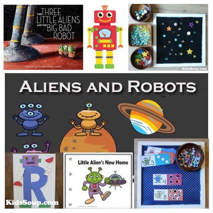 Alien and Robots and Space preschool activities and games