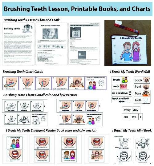 Number Names Worksheets preschool color chart : I Brush My Teeth Booklet and Craft | KidsSoup
