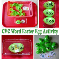 Kindergarten Easter Eggs CVC Words Activity