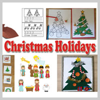 Preschool, Kindergarten Christmas Holidays Activities and Crafts
