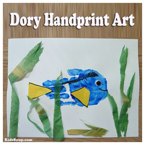 Dory handprint craft and artwork for preschool and kindergarten