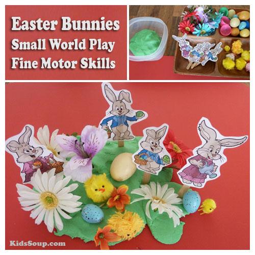 Preschool Easter Bunny small world play area and fine motor skills activity