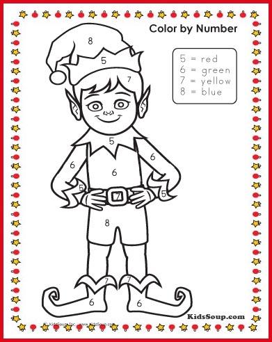 Elf color by number preschool worksheet