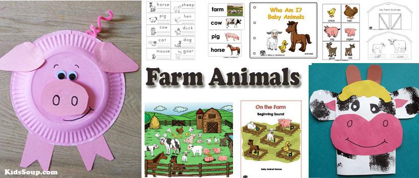 Preschool Kindergarten farm animals activities and printables