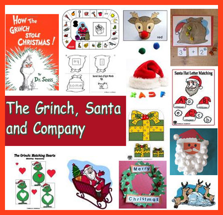 Preschool and Kindergarten Santa and the Grinch activities and crafts