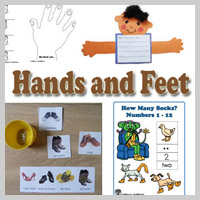 Preschool, Kindergarten Hands and Feets Activities and Crafts
