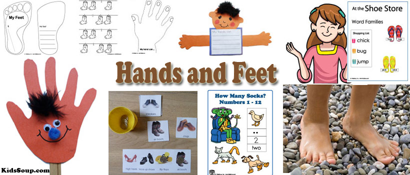Hands and Feet Activities and Crafts for preschool and kindergarten