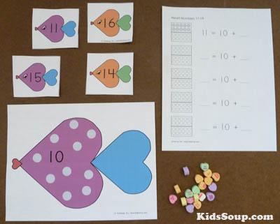 Heart fish numbers 11-20 kindergarten activity