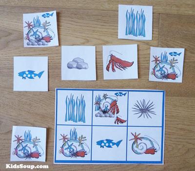 Hermit the crab preschool and kindergarten game and activity