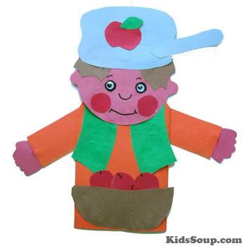 Johnny Appleseed puppet craft and activities for preschool and kindergarten