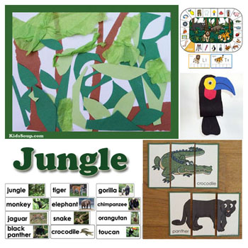 Jungle and jungle animals preschool activities and crafts