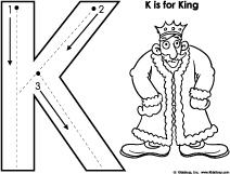 K for king letter pre-writing skills printables for preschool