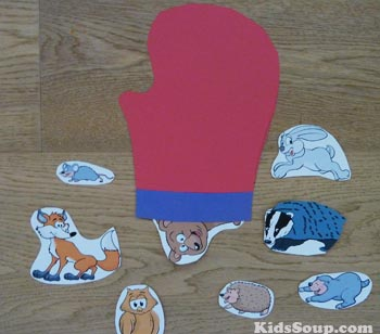 The Mitten Re-telling activity and song for preschool