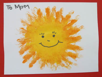 Mother's Day preschool handprint sun craft and poem