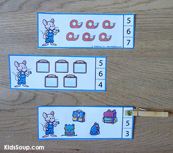 Mouse school counting cards activity for preschool and kindergarten