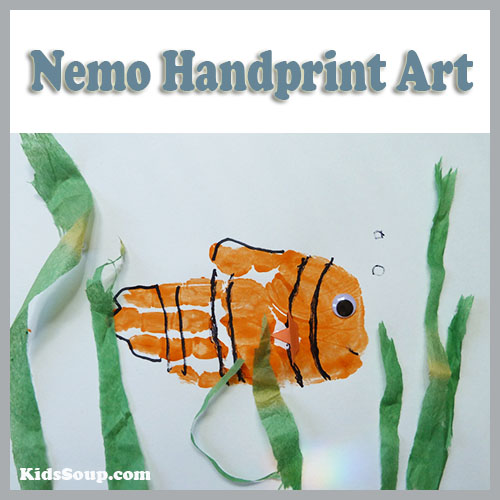 Nemo handprint artwork preschool and kindergarten