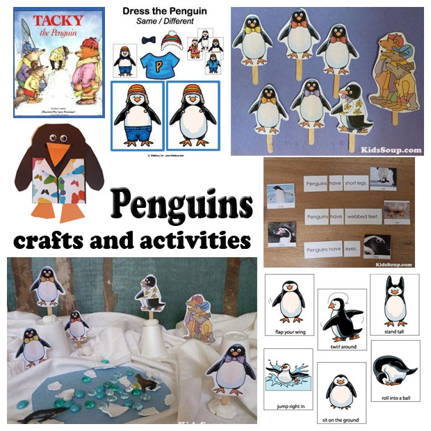 Penguin crafts activities folder games for preschool and