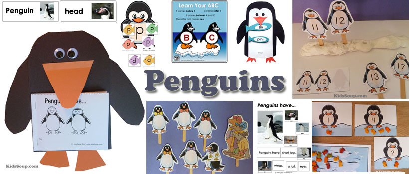 Penguins activities, crafts, lessons, and printables for preschool and kindergarten