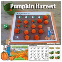 Pumpkins preschool counting activity and printable