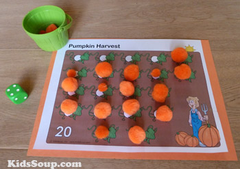 Pumpkin Patch counting mat and activity for preschool and kindergarten
