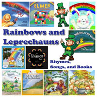 Rainbow and Leprechaun books, rhymes, and songs