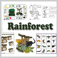 Preschool Kindergarten Rainforest Activities and Crafts