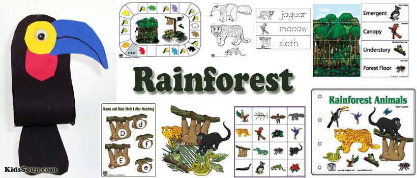 preschool and kindergarten Rainforest activities and crafts