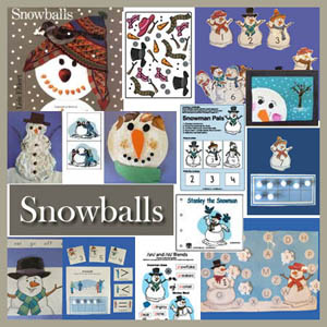 Snowballs literacy activities, crafts,  and lesson for preschool