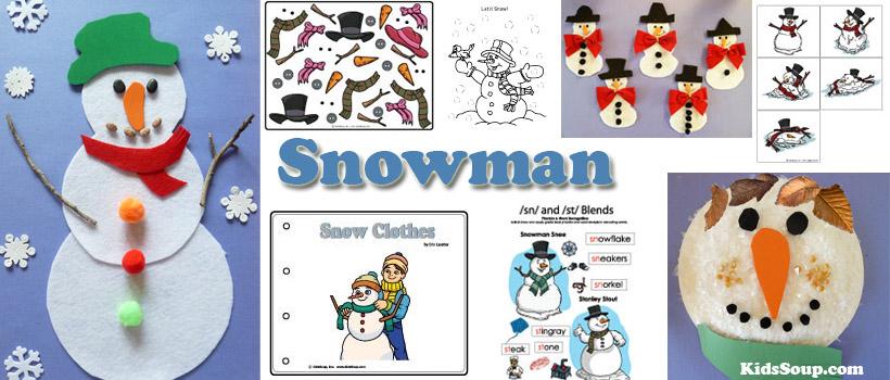 preschool and kindergarten snowmen activities and crafts