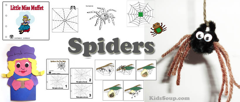 Spiders preschool and kindergarten activities, crafts, and printables