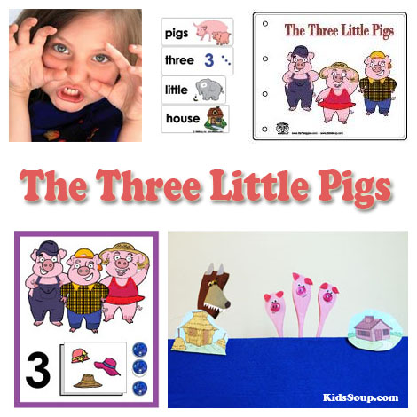 The Three Little Pigs activities and games for preschool and kindergarten