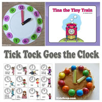 Preschool Kindergarten Train and Clock Activities