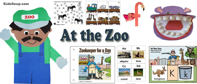 Zoo preschool and kindergarten activities, crafts, and games