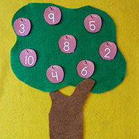 Apple number activity for preschool and kindergarten