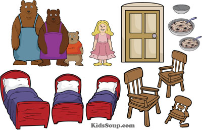 Goldilocks and the three bears felt story printables and activities