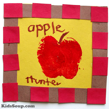 Apple printing and craft activity for preschool and kindergarten