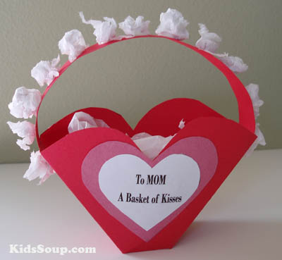 Heart basket with Hershey kisses preschool Mother's Day craft and gift idea