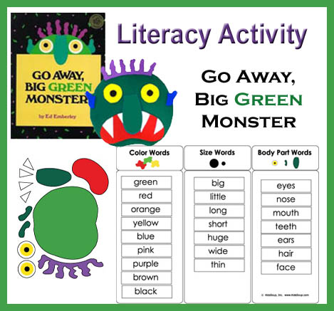 Go away big green monster literacy activity kidssoup
