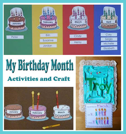 Birthday Cake Months Numbers Names Writing Activity